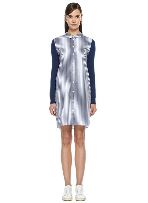 Twin Set Çizgili Gömlek Elbise Lacivert